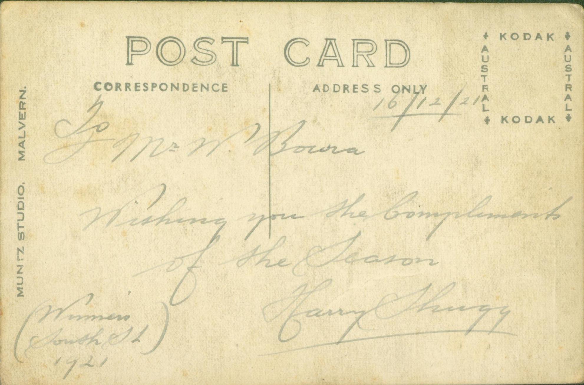 19211216_Malvern-Tramways-Band_Postcard-Back