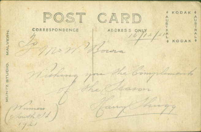 19211216_Malvern-Tramways-Band_Postcard-Back